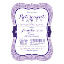Purple Damask Pattern; Elegant Retirement Party Invitation