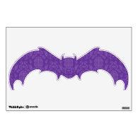 Purple Damask Pattern Halloween Bat Room Graphics