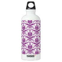 Purple Damask Pattern Water Bottle