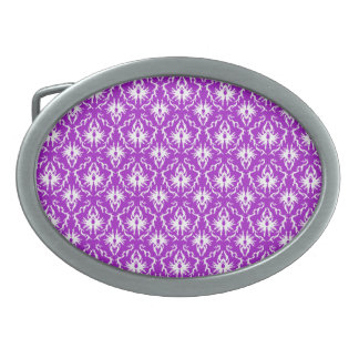 Purple Damask Pattern with White. Belt Buckles