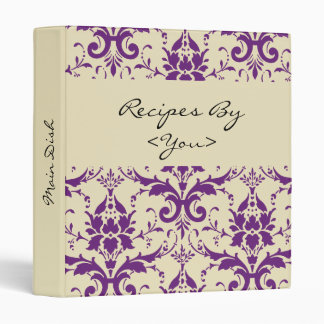 Purple Damask Personalized Cook Book Recipe Binder