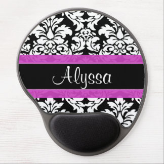 Purple Damask Personalized Gel Mouse Pad