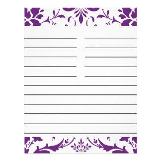Purple Damask Personalized Matching Recipe Paper
