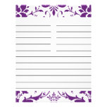 """Purple Damask Personalized Matching Recipe Paper 8.5"""" X 11"""" Flyer"""