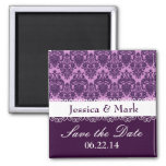 Purple Damask Personalized Save the Date Wedding Fridge Magnet