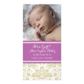 Purple Damask Photo New Baby Birth Announcement
