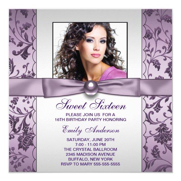 Purple Damask Photo Sweet Sixteen Birthday Party Invitation (front side)