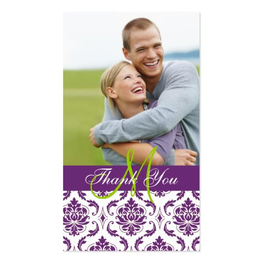 Purple Damask Photo Wedding Thank You Favor Tag Business Cards