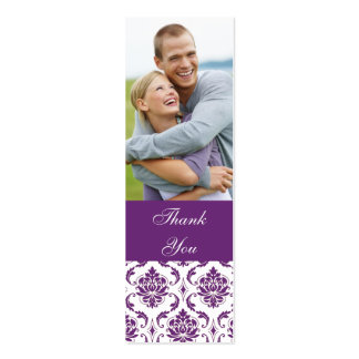 Purple Damask Photo Wedding Thank You Favor Tag Mini Business Card