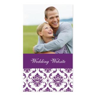 Purple Damask Photo Wedding Website Card