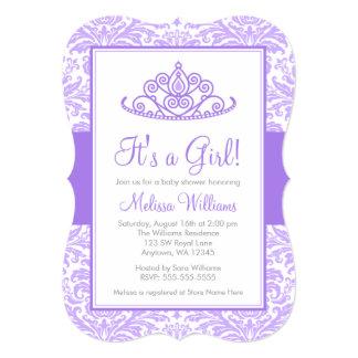 Purple Damask Princess Crown Girl Baby Shower 5x7 Paper Invitation Card