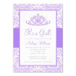Purple Damask Princess Crown Girl Baby Shower 4.5x6.25 Paper Invitation Card
