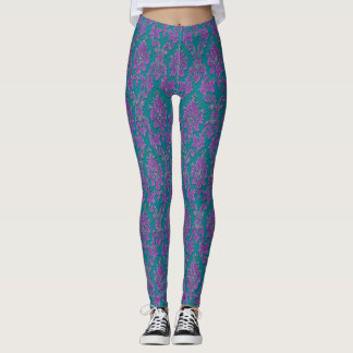 Purple Damask Print on Teal or Your Color Leggings