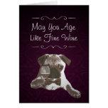 Purple Damask Pug & Fine Wine Happy Birthday Card