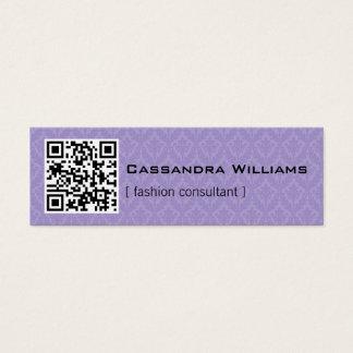 Purple Damask QR CODE Mini Business Cards