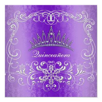 Purple Damask Quinceanera Diamond Tiara Invite