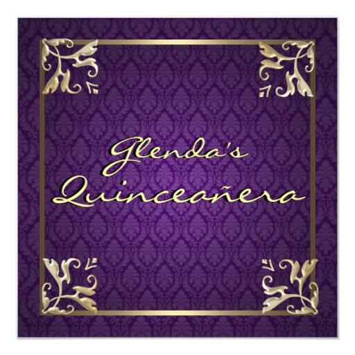 Purple Damask Quinceañera 5.25x5.25 Square Paper Invitation Card