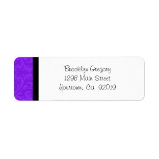 Purple Damask Return Address Label