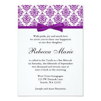 Purple Damask Ribbon Bow Bat Mitzvah Invitations