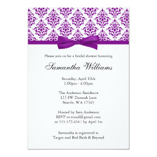 Purple Damask Ribbon Bow Bridal Shower Card