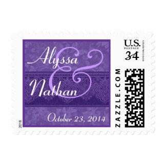 Purple Damask Ribbon Wedding Date Stamp