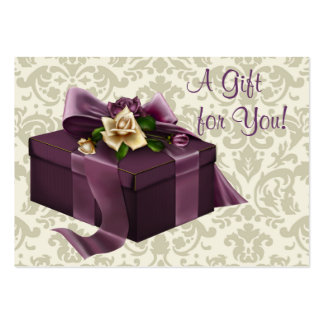 Purple Damask Rose Business Gift Certificate Cards Large Business Cards (Pack Of 100)