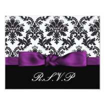 purple damask  rsvp card