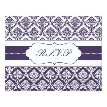 purple damask  rsvp card