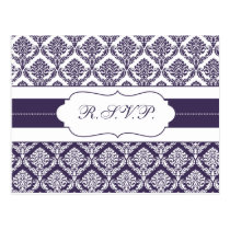 purple damask  rsvp postcard
