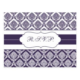 purple damask  rsvp postcard