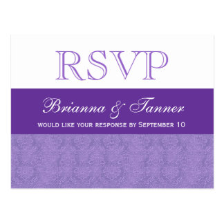 Purple Damask RSVP Wedding Response Postcard