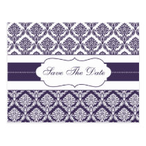 purple damask save the date announcement postcard