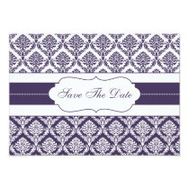 purple damask Save the date Card