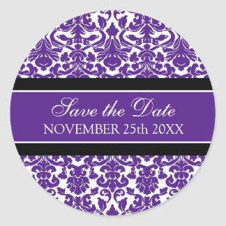 Purple Damask Save the Date Envelope Seal