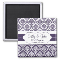 purple damask Save the date magnet