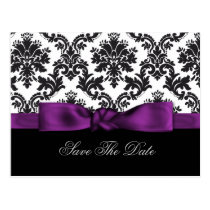 purple damask Save the date Postcard