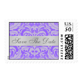 Purple Damask Scroll Save The Date Postage