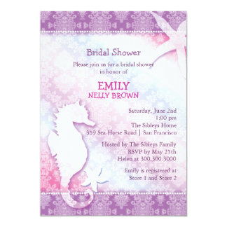 Purple Damask Sea Horse Beach Bridal Shower Card