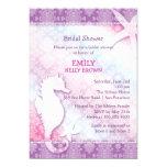 """Purple Damask Sea Horse Beach Bridal Shower Invite 5"""" X 7"""" Invitation Card"""