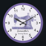 """Purple Damask Sewing Machine Large Clock<br><div class=""""desc"""">This sewing themed wall clock is printed with a vintage sewing machine graphic image done in a purple damask applique. Personalize the text in the easy Zazzle editor for your favorite sewing or quilting enthusiast. Great wall decor gift for any sewing or crafting space. Available in your choice of round...</div>"""