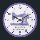 "Purple Damask Sewing Machine Large Clock<br><div class=""desc"">This sewing themed wall clock is printed with a vintage sewing machine graphic image done in a purple damask applique. Personalize the text in the easy Zazzle editor for your favorite sewing or quilting enthusiast. Great wall decor gift for any sewing or crafting space. Available in your choice of round...</div>"