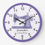 Purple Damask Sewing Machine Large Clock