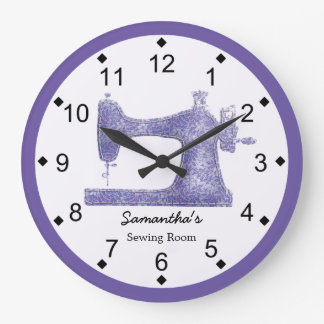Purple Damask Sewing Machine Large Clock