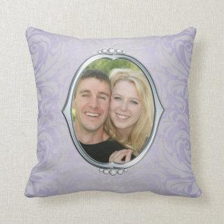 Purple Damask Silver Frame Photo Throw Pillow