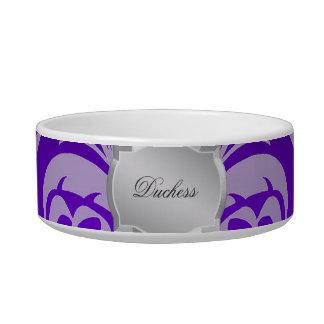 Purple Damask Silver Plaque Name Pet Bowl Cat Food Bowl