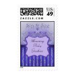 Purple Damask Sip & See Baby Shower Postage Stamp