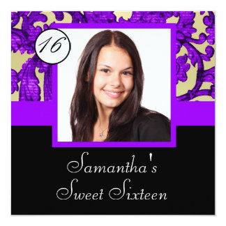 Purple damask sweet sixteen card