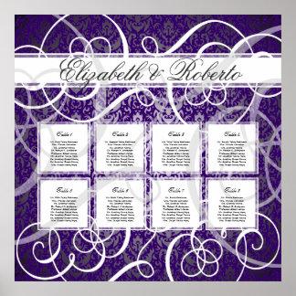 Purple Damask Swirls 8 Table Seating Chart
