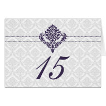 purple damask table seating card