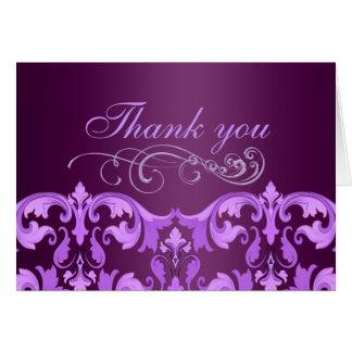Purple Damask Thank You Card